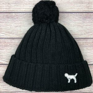PINK VS Black Sherpa Pom Beanie Hat Dog Logo